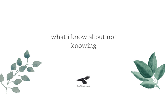 what i know about not knowing